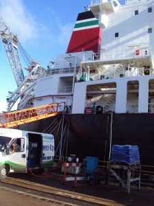 Us cleaning the carpets on this BP tanker in dry dock.